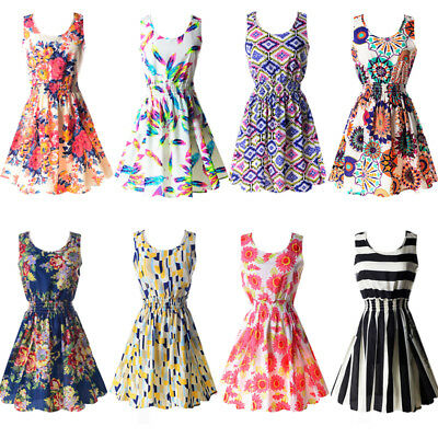 Summer Women Chiffon Floral Mini Dress Sleeveless Party Cocktail Beach Sundress