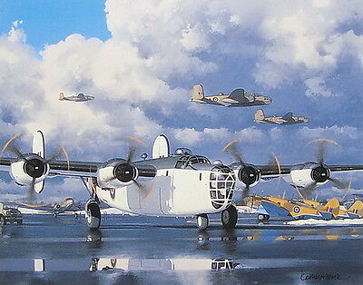 Lend-Lease RAF Coastal Command B24 Liberator Print by Keith Woodcock