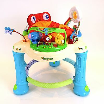jumperoo rainforest rolling baby walker with jump activated lights & sound