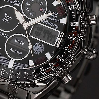 INFANTRY Mens Digital Quartz Wrist Watch Chrono Army Sport Black Stainless Steel