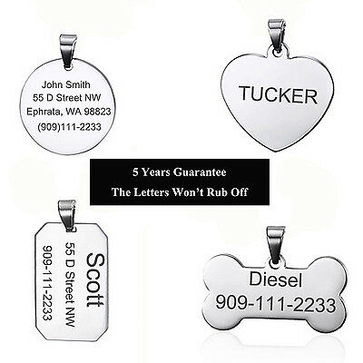 High Quality Steel Free Custom Engraved Dog Pet Id Tag Personalized Dog Tag