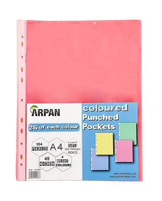 104 A4 Colored Strong Punched Pockets Sleeves-Plastic Wallets Filing Folder