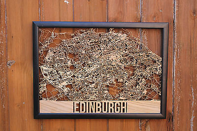Edinburgh Laser Cut Street Maps Wooden Map