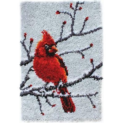 "Cardinal Bird Latch Hook Rug Kit 20"" x 30"" Caron WonderArt Classic 426410 NEW"