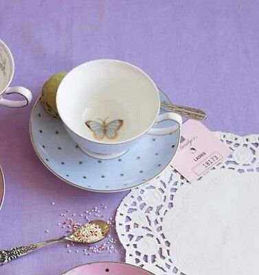 Bombay Duck Miss Darcy Bird Butterfly, Teacup & Saucer in Powder Blue, Tea Cup