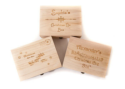 Personalised Engraved Wooden Christmas Eve Box 2 Sizes 3 Designs