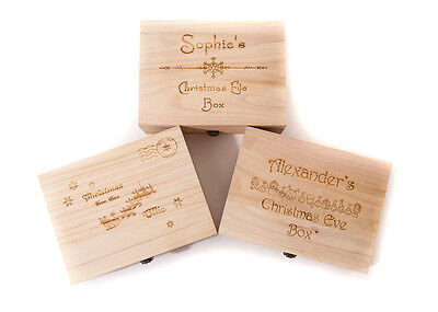 Wooden Christmas Eve Box Personalised Engraved  2 Sizes New Designs Santa Treats