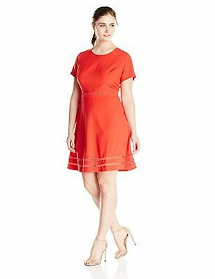 Lark & Ro Womens Modern Stretch Fit And Flare Dress Asst Plus Sizes Color Red