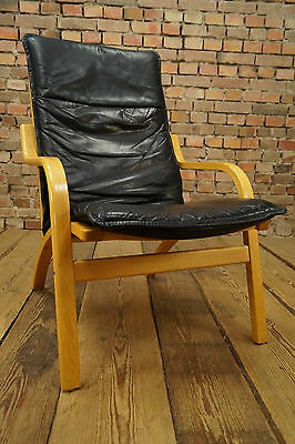 60s Retro EASY CHAIR DANISH LEATHER ARMCHAIR STOUBY DENMARK FAUTEUIL Vintage