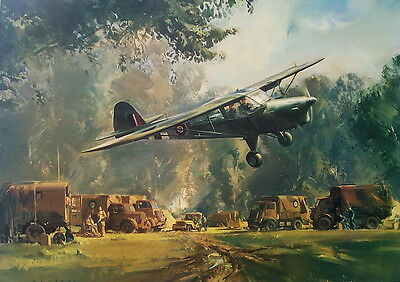 Auster Lands In Normandy At Tactical HQ 1944 By Frank Wootton