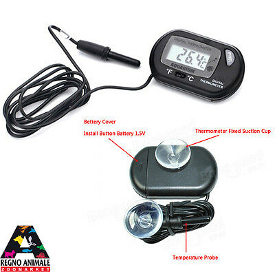 Termometro Digitale Con Sonda Per Acquari Terrari Digital Thermometer Aquarium