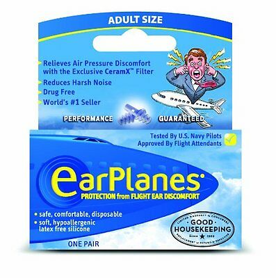 EarPlanes Earplugs 1 Pair Adult size - Protection from flight ear discomfort