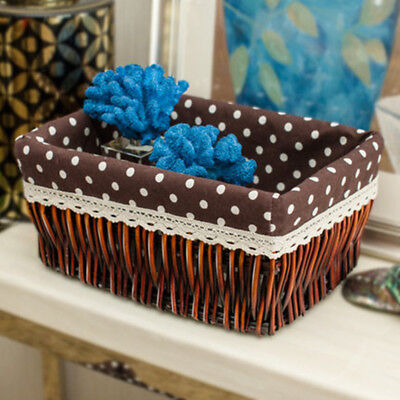 Decorative White Wicker Storage Baskets Cosmetic Storage Box For Books Crafts