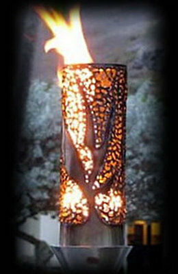"""Fire by Design Automated Tiki Torch """"Bird of Paradise"""" w/Faux Bamboo Pole"""