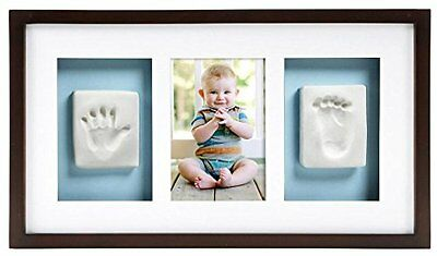 NEW Pearhead Babyprints Handprint and Footprint Deluxe Wall Frame Espresso
