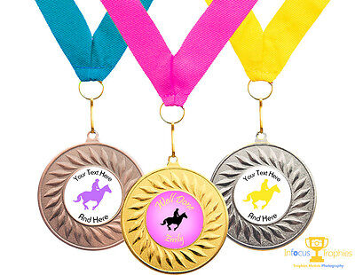 10 x Equestrian Dressage Show Jumping Horse Award Medal Personalised + Ribbon