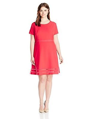 Lark & Ro Womens Modern Stretch Fit And Flare Dress Asst Sizes Color Red