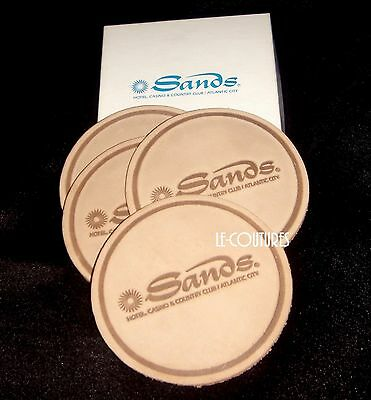 Set of 4 Vtg SANDS Hotel Casino Collectible Drinks Cups Leather Coasters Mat
