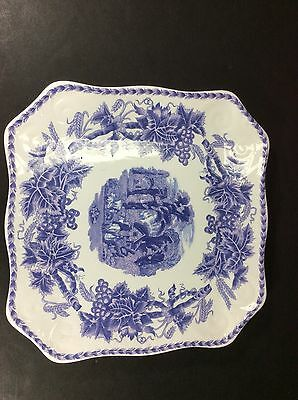 "Beautiful Antique Blue & White Nantucket Made In China 11"" Squareserving Platter"