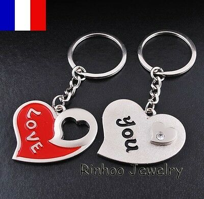 2X Porte clés clefs Couple Amour Love You Saint Valentin Valentine day Keychains