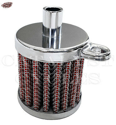 """Crankcase Breather Filter Assembly for Harley or Custom - Fits 3/8"""" ID Hose"""