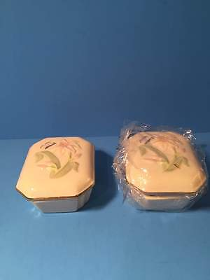 2 Lenox Floral Flower Butterfly Trinket Boxes 1 New