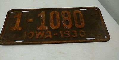Iowa License Plate 1-1080 Vintage Antique 1930