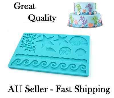 Sea Life Sea Waves Creatures Silicone Mold Mould Mat Cake Fondant Gum Paste Hot
