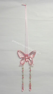 New Hanging Pink Butterfly Mobile Decoration with Ribbon,Chain & Beads so Pretty
