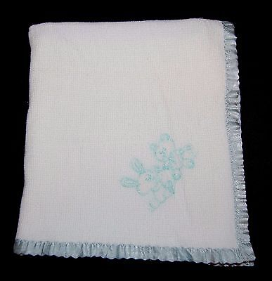 Vintage Carter's Baby Blanket Thermal Waffle Weave Bunny Bear White Satin #24