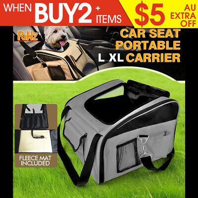 Portable Pet Dog Cat Carrier Car Booster Seat Soft Cage Travel Bag Large GREY