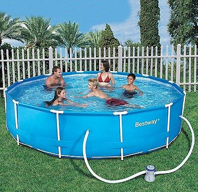 """Large Family Swimming Pool Bestway Steel Frame Above Ground Pool w/ Pump 10x30"""""""