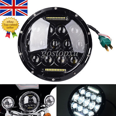 "7"" Black Motorcycle Projector Daymaker Headlight HID LED Light Lamp For Harley"