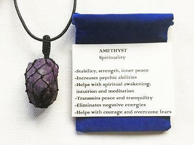 Amethyst Pendant Natural Rough Crystal Necklace, Nylon Cage, Adjustable Chain