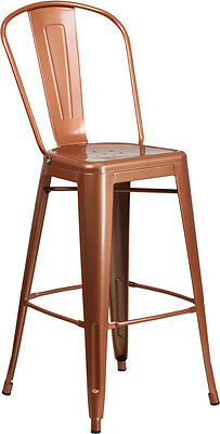 Flash Furniture 30'' High Copper Metal Indoor-Outdoor Barstool with Back