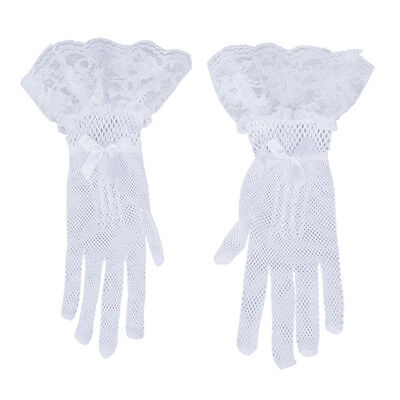New Women Ivory Finger Lace Wedding Bridal Cocktail Evening Prom Short Gloves S*
