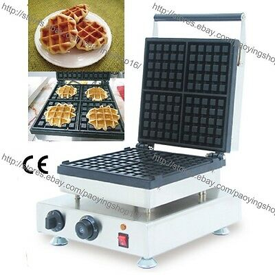Commercial Nonstick Electric 4pcs Belgium Liege Waffle Baker Machine Maker Iron