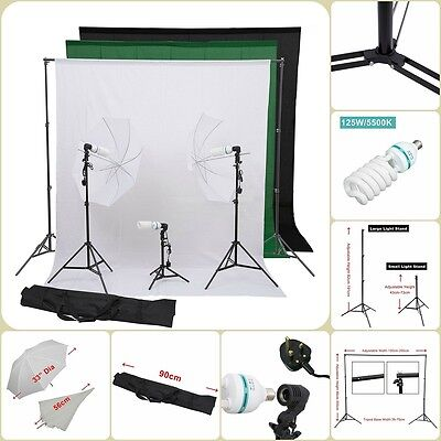 Portable Photography Kit Umbrella Set W.Light Bulbs Photo Studio Lighting Set