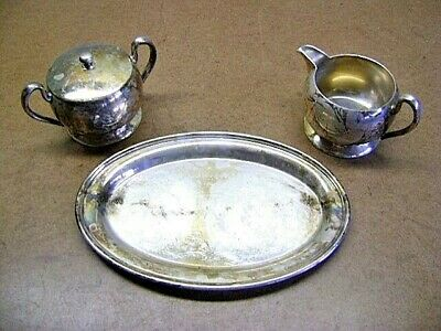 Vintage ACADEMY SILVER ON COPPER Creamer Sugar Bowl & Tray Nice Collectibles