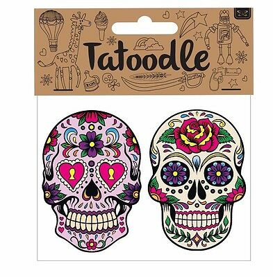 Tatoodle Mexican Sugar Skull/ Day of the Dead temporary tattoos pack of 2