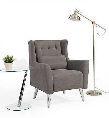 Modern Designer Fabric Lounge Chair Or Bedroom Chair In Grey Or Beige Fabric
