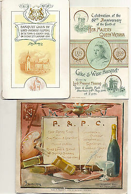 A collection of Aberdeen menus, c. 1891-1934