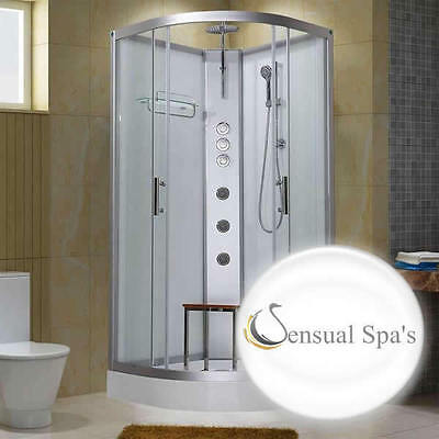 Sensual Spas Pure 900 white shower cabin Enclosure 900 x 900 Cubicle Hydro