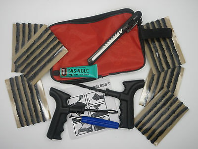 Emergency Car Van Motorcycle Tubeless Tyre Puncture Repair Kit 30 Strings & Glue