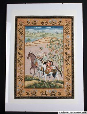 Indien 20. Jh. Malerei - Painting of Royal Riders Rajasthan Northern India Inde
