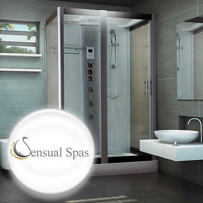 Sensual Spas Serenity White steam shower Cabin Enclosure 1200 x 900 Aromatherapy