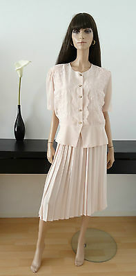 Ensemble Chemisier/jupe Plisssée Rose Pale Made In France Taille 42
