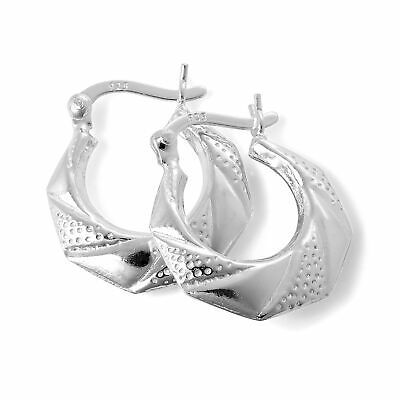 925 Sterling Silver Textured Wrap Creole 16mm Hoop Earrings Creoles Jewelry Her