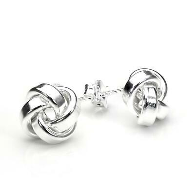 925 Sterling Silver 10mm Solid Knot Stud Earrings | Shape Ear Jewelry for Her