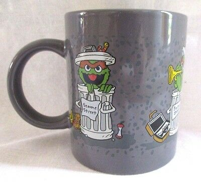 Sesame Street Oscar The Grouch Coffee Cup Mug Garbage Can Jim Henson